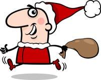 Körande Santa Claus tecknad filmillustration Fotografering för Bildbyråer