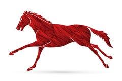 Körande tecknad filmdiagram för hästkapplöpning royaltyfri illustrationer