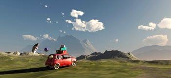 körning av bilen och av vägen Arkivbild