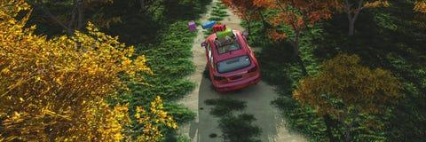körning av bilen och av vägen royaltyfri illustrationer