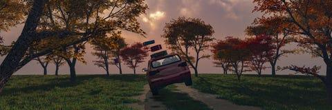 körning av bilen och av vägen stock illustrationer