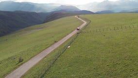 Körning av bilen på vägen till berget H?rlig sommarbergv?g arkivfilmer
