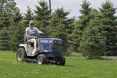 körning av lawngräsklippningsmaskinkvinnan Royaltyfri Bild