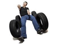 körning av nya gummihjul Fotografering för Bildbyråer