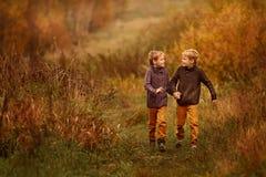 Körning för två bröder till och med gräset Arkivfoto