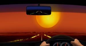 Körning i öknen under solnedgång Royaltyfria Foton