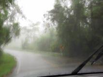 Körning i det starka regnet arkivfilmer