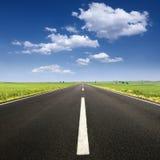 Körning på asfaltvägen på den trevliga soliga dagen Arkivbild