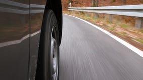 Körning på en landsväg till och med skogen - låg-vinkel sikt arkivfilmer
