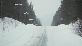 Körning på en vinterskogväg långsam rörelse arkivfilmer