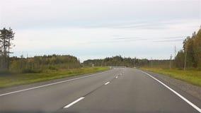 Körning på motorvägen med bilen till och med skogen i sommar stock video