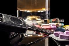 Körning på preventivpillerar royaltyfri foto