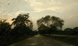 Körning till och med regn Royaltyfria Bilder