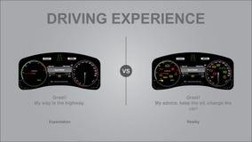 Körningserfarenhet, verklighet för förväntan kontra - modern lyxig illustration för bilinstrumentbrädavektor med och utan kontrol arkivfoto