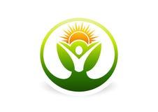 Körper, Anlage, Gesundheit, Botanik, natürlich, Ökologie, Logo, Ikone, Symbol lizenzfreie abbildung