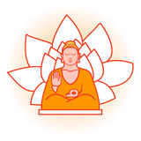 Körper- und Sinnesyoga, lokalisierte Buddha-Illustration im Vektor Stockbild
