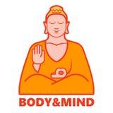 Körper- und Sinnesyoga, lokalisiertes Buddha-Firmenzeichen im Vektor Lizenzfreie Stockfotos