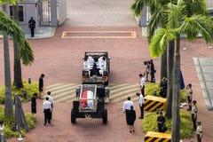 Körper von Herrn Hereinkommendes Parlamentsgebäude Lee Kuan Yews vom Istana am 25. März 2015 Stockbild