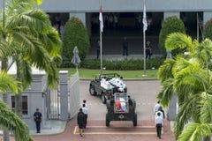 Körper von Herrn Hereinkommendes Parlamentsgebäude Lee Kuan Yews vom Istana am 25. März 2015 Stockfotos