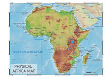 Körperliche Afrika-Karte Stockfoto