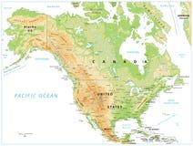 Körperliche Karte Nordamerikas lokalisiert auf Weiß stock abbildung
