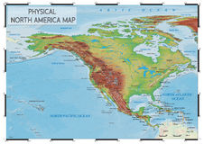 Körperliche Nordamerika-Karte Stockfotos