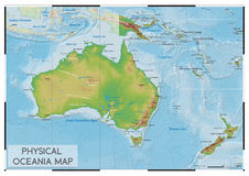 Körperliche Ozeanien-Karte Stockfotos