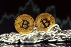 Körperliche Version der neuen virtuellen Geldes und Kette Bitcoin Stockbild