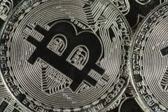 Körperliches silbernes bitcoin Cryptocurrency Lizenzfreies Stockbild