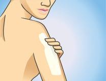 Körperlotion auf Arm Lizenzfreies Stockfoto