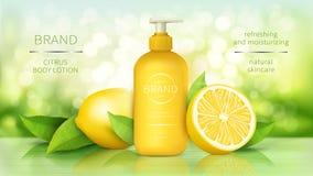 Körperlotion mit realistischen Anzeigen des Zitronenvektors stockbild