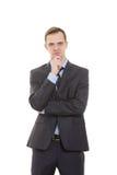 Körpersprache Mann im Anzug an lokalisiert Lizenzfreies Stockbild