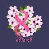 Körsbär eller sakura blomning med digitala åtta För kvinna` s för mars 8 internationell dag vektor royaltyfri illustrationer