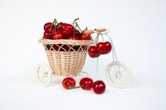 Körsbär i dekorativ korg på en cykel som isoleras Royaltyfri Foto