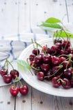 Körsbär i en vit maträtt Royaltyfri Foto