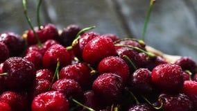 Körsbär Körsbär Körsbär i färgbunke och kökservett Rött körsbär nya Cherry stock video