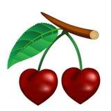 Körsbär i form av hjärta Arkivbild