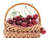 Körsbär i korgen royaltyfri bild