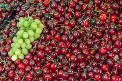Körsbär i marknad Fotografering för Bildbyråer