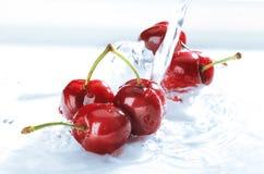 Körsbär i vatten fotografering för bildbyråer