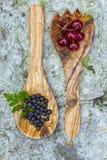 Körsbär och blåbär i träskedar Arkivbilder