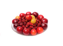 Körsbär söta körsbär, jordgubbar på vit bakgrund Royaltyfri Bild