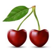 Körsbär två gillar hjärta Arkivbild
