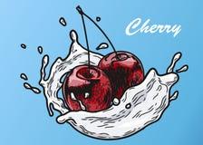 Körsbäret mjölkar färg stock illustrationer