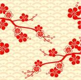 Körsbärsröd blomning japansk modell Prydnad med orientaliska motiv vektor vektor illustrationer