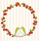 Körsbärsröd cirkel med fågeln Arkivfoton