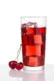 Körsbärsröd fruktsaft i ett exponeringsglas med is arkivfoton