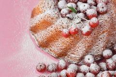 Körsbärsröd kaka som dekoreras med pudrat socker och nya bär Royaltyfri Bild
