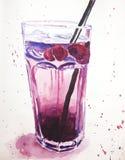 Körsbärsröd lemonadillustration royaltyfri illustrationer