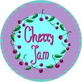 Körsbärsröd logo eller etikett för lock för vectirillustrationrunda för driftstopp eller marmelad Arkivbilder